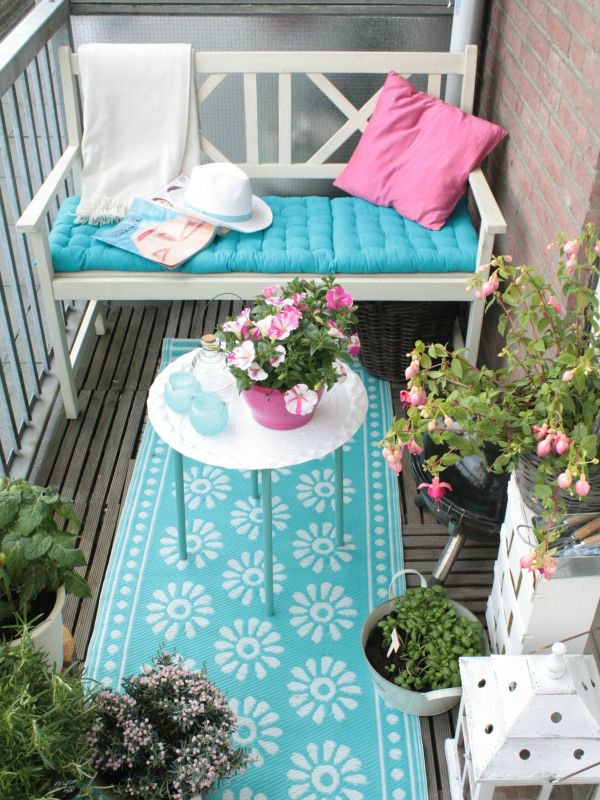 Apartment Balcony Decor Small Patio Blue Balcony Plants Rug
