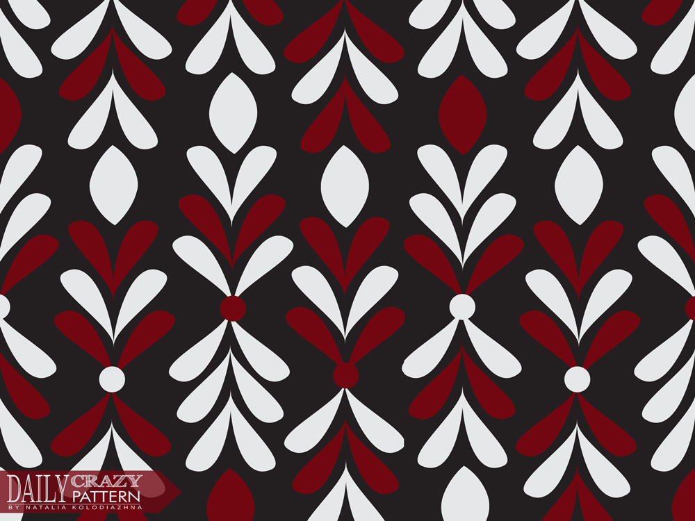 "Elegant black, red and white pattern for ""Daily Crazy Pattern"" project"