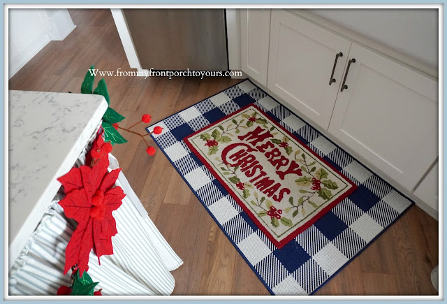 Cottage -Farmhouse- Christmas- Kitchen- Tour-Buffalo-Check-Blue & White-Christmas-Rug-From My Front Porch To Yours