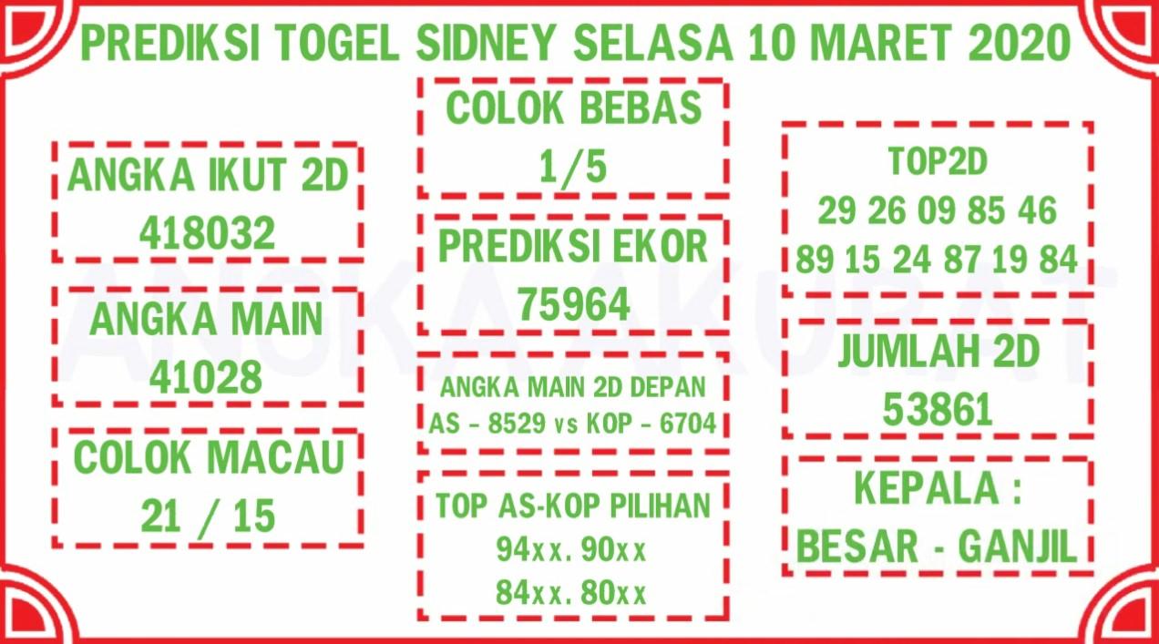 Prediksi Togel Sidney Selasa 10 Maret 2020 - Prediksi Togel JP