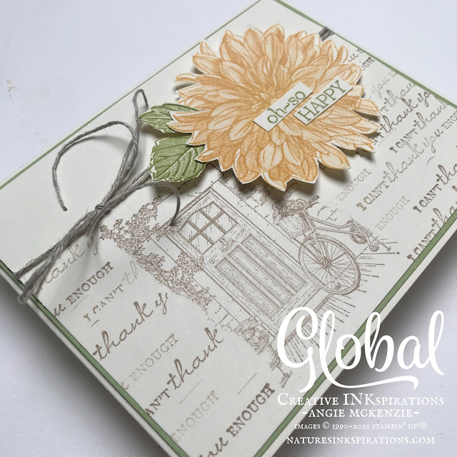 By Angie McKenzie for Global Creative Inkspirations; Click READ or VISIT to go to my blog for details! Featuring the Delicate Dahlias and Feels Like Home Stamp Sets from the August-September 2021 Sale-a-Bration Brochure; #stampinup #handmadecards #naturesinkspirations #thinkingofyoucards #delicatedahlias #feelslikehome #sameabrationAugSep2021 #cardtechniques #globalcreativeinkspirations #gcibloghop  #makingotherssmileonecreationatatime