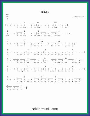 not angka bebilin lagu daerah kalimantan utara