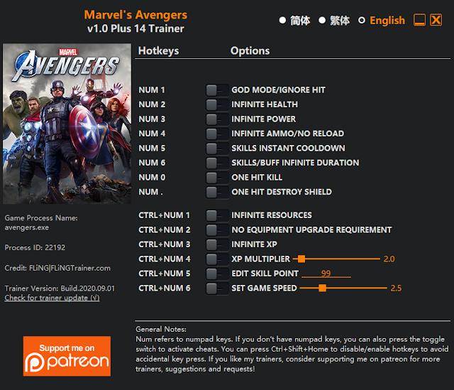 Tampilan Trainer Marvel's Avengers PC