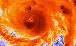 The NOAA/NASA Suomi NPP satellite captures an infrared image of Hurricane Harvey just prior to making landfall on August 25, 2017 along the Texas coast. (Photograph Credit: Handout/Getty Images) Click to Enlarge.