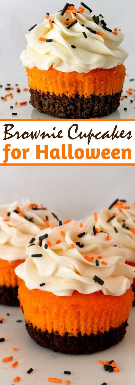Brownie Cupcakes #cake #recipes #desserts #baking #halloween