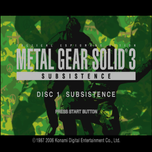 Metal Gear Solid 3 title screen playstation 2