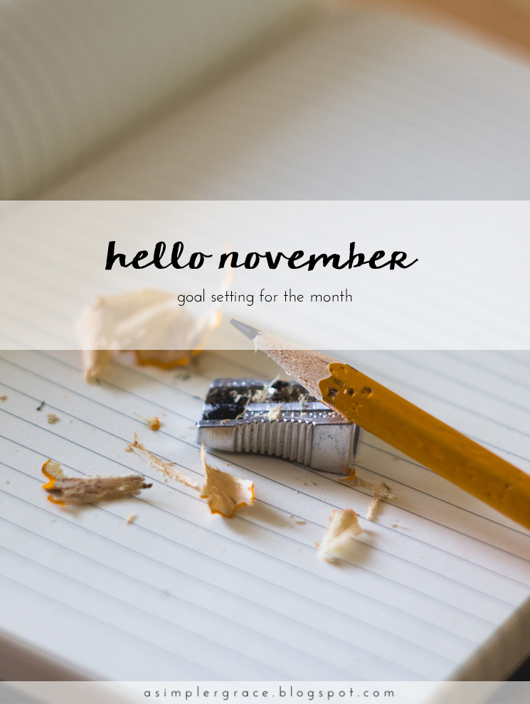 A monthly series tracking the goals I've set both in my personal and blogging life. - Hello November | Goals - A Simpler Grace
