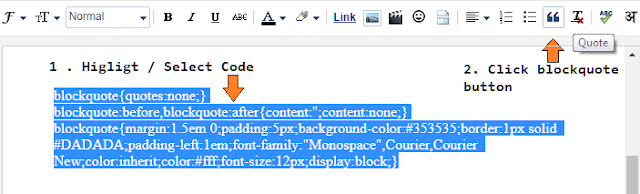 Cara menggunakan blockquote blogger