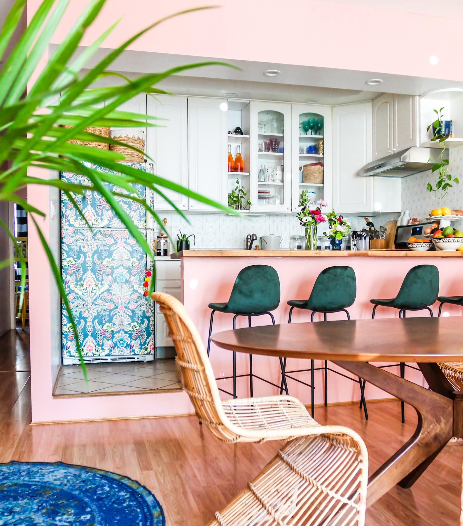 pink and green decor // green barstools // pink kitchen // diy wallpaper fridge // pink and green kitchen // colorful homes // Megan Zietz  Apartment // TfDiaries // pink and green room // pink and green Inspo // barstool inspo // velvet barstools
