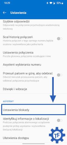 Ustawienia aplikacji telefon