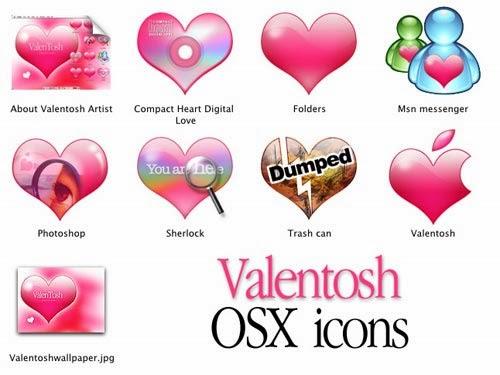 Valentine-themed Mac OSX Icons
