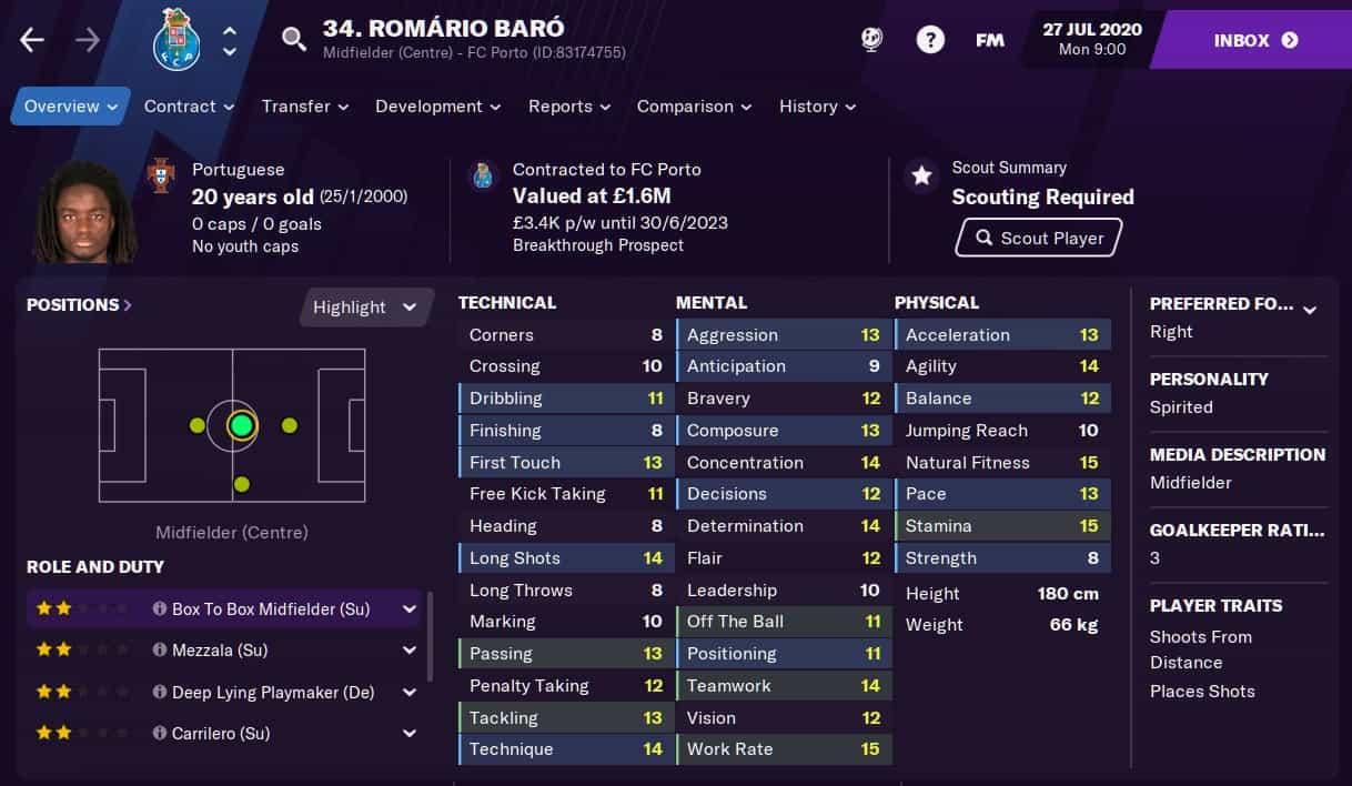 Romario Baro Football Manager 2021