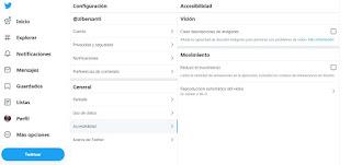 Opciones de Accesibilidad Web en Twitter