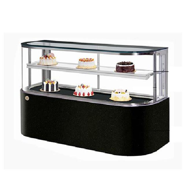 Tủ bánh sinh nhật kính cong dài (Mẫu cong góc góc tròn)