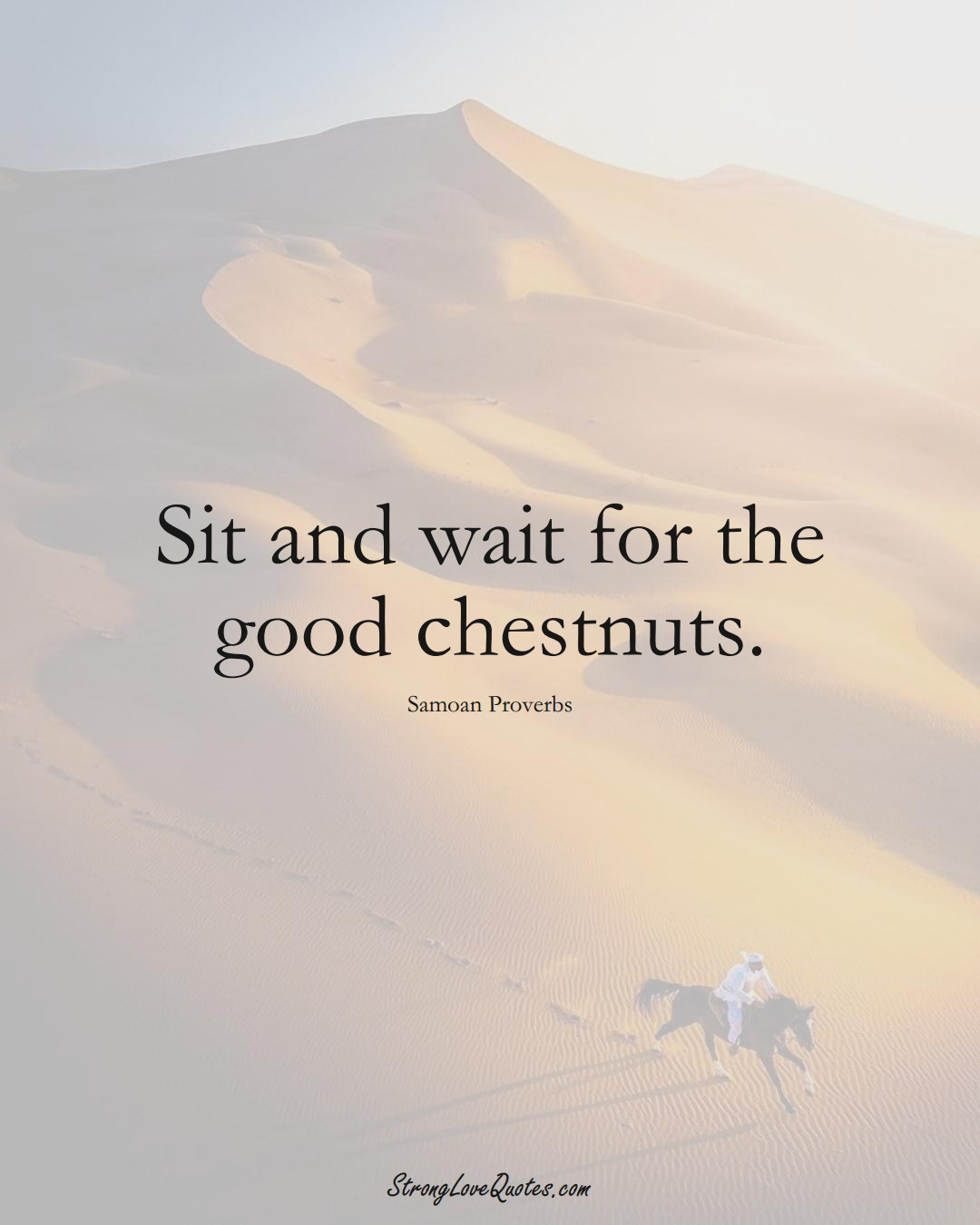 Sit and wait for the good chestnuts. (Samoan Sayings);  #AustralianSayings