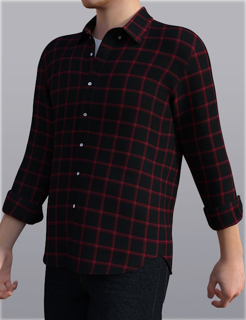 H/C Checkered Shirt Outfit for Genesis 3 Male
