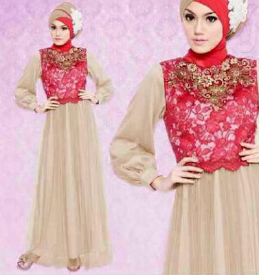 Model Baju Gamis Muslim Bahan Brokat Untuk Pesta Terbaru