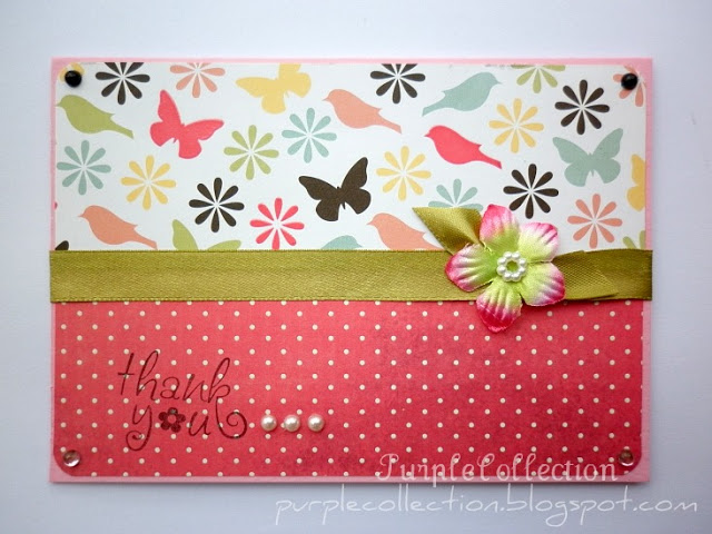 Thank You Cards, floral, bird, pink, polka dots