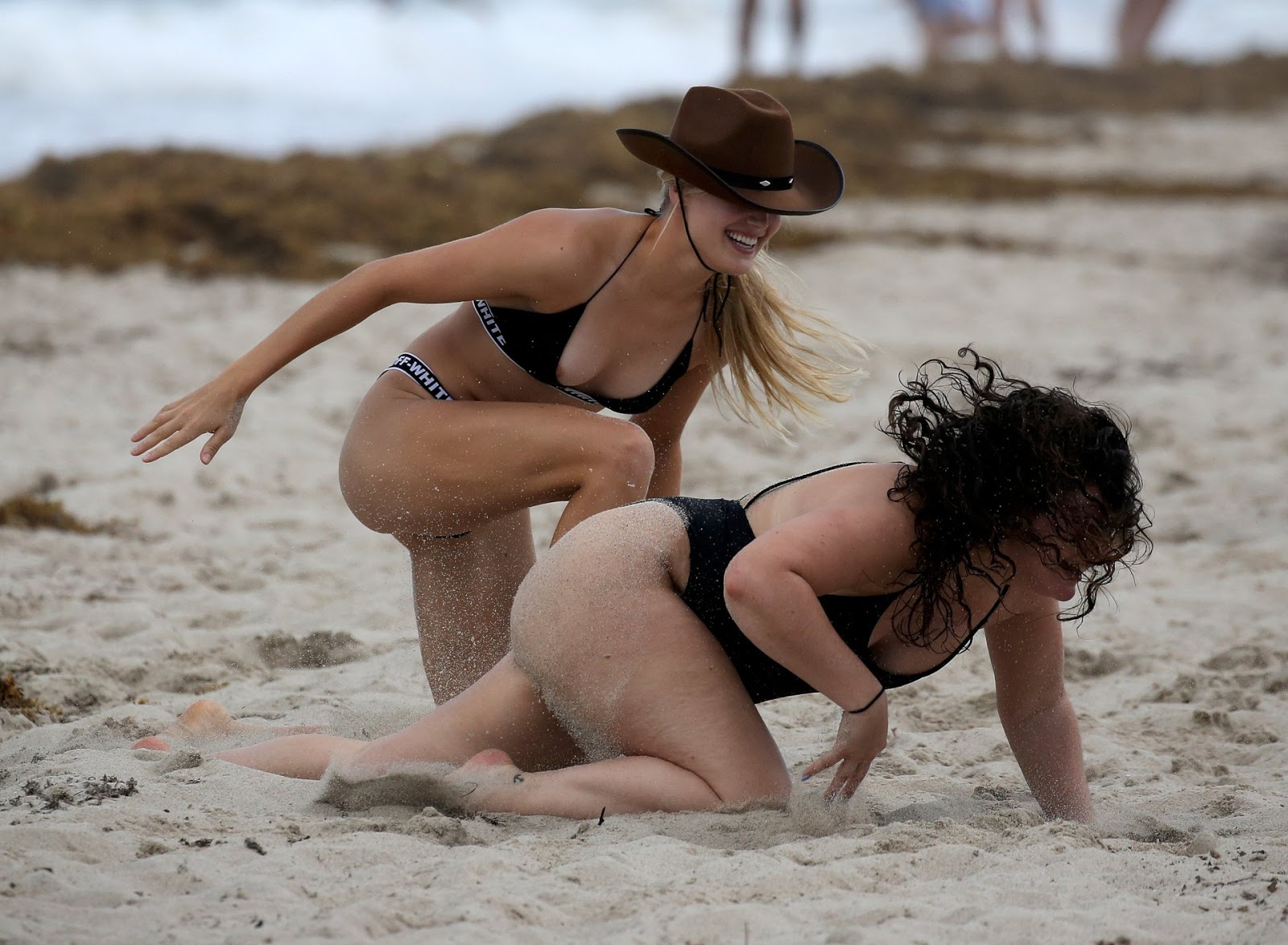 Eugenie Bouchard – Bikini Candids on the beach in Miami (Nipslip)