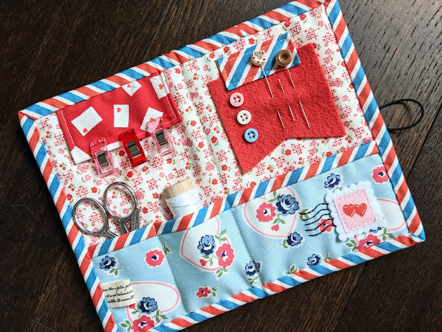 Tinkandstitch Sewing Kit by Heidi Staples of Fabric Mutt featuring Love Letters fabric by the Cottage Mama for Riley Blake Designs