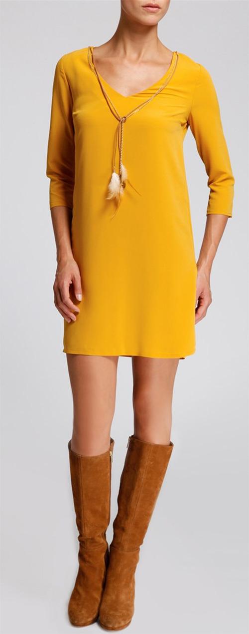Robe courte jaune Morgan manches ¾