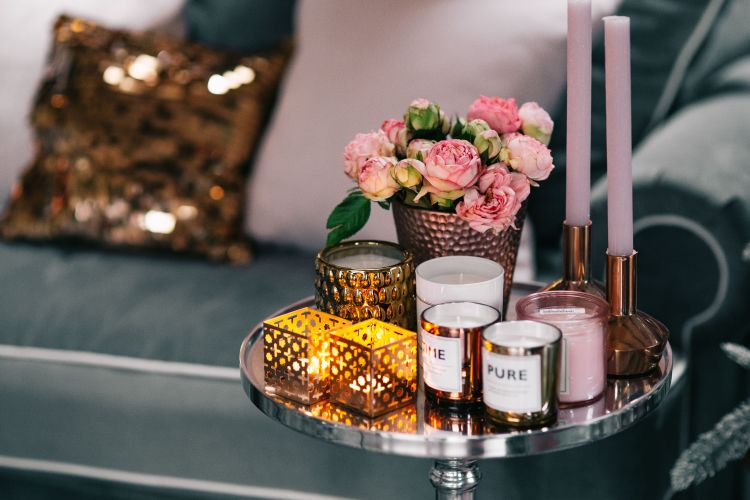 cosy tray of candles to decorate the home