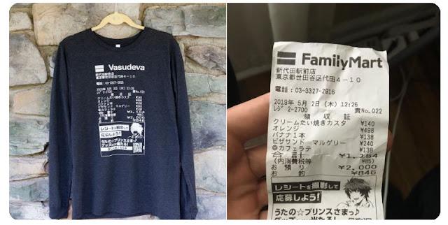 Band Amerika, Vasudeva, Menggunakan Struk Belanja Toserba Asli Jepang untuk Desain Baju