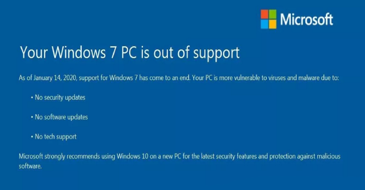 Windows 7 Microsoft Ends Support : 2020