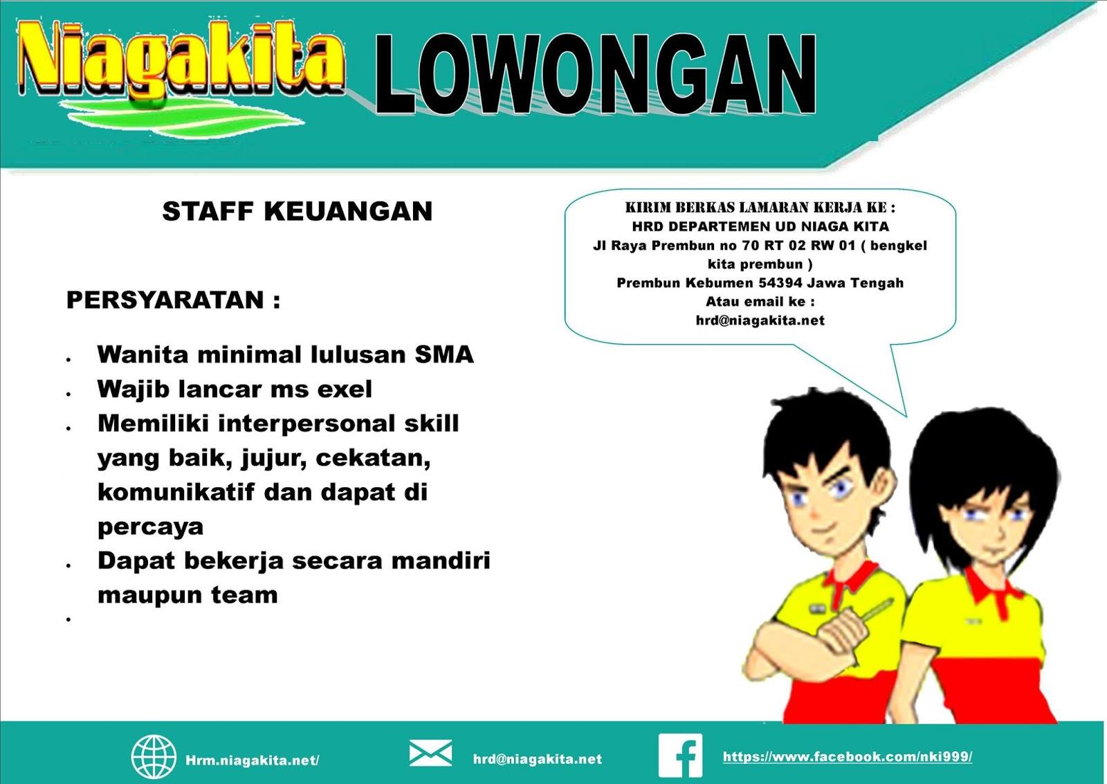 Lowongan Staff Keuangan Niaga Kita Kebumen - Banyumas ...