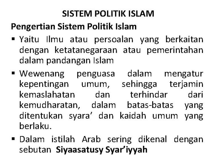 Pengertian Politik Islam