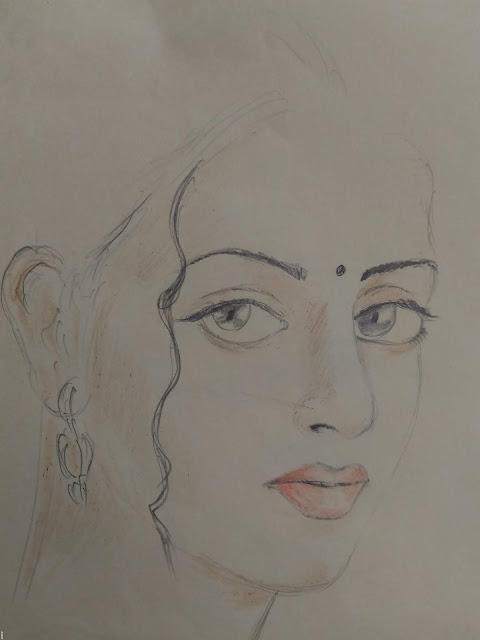 cute girl face pencil drawing