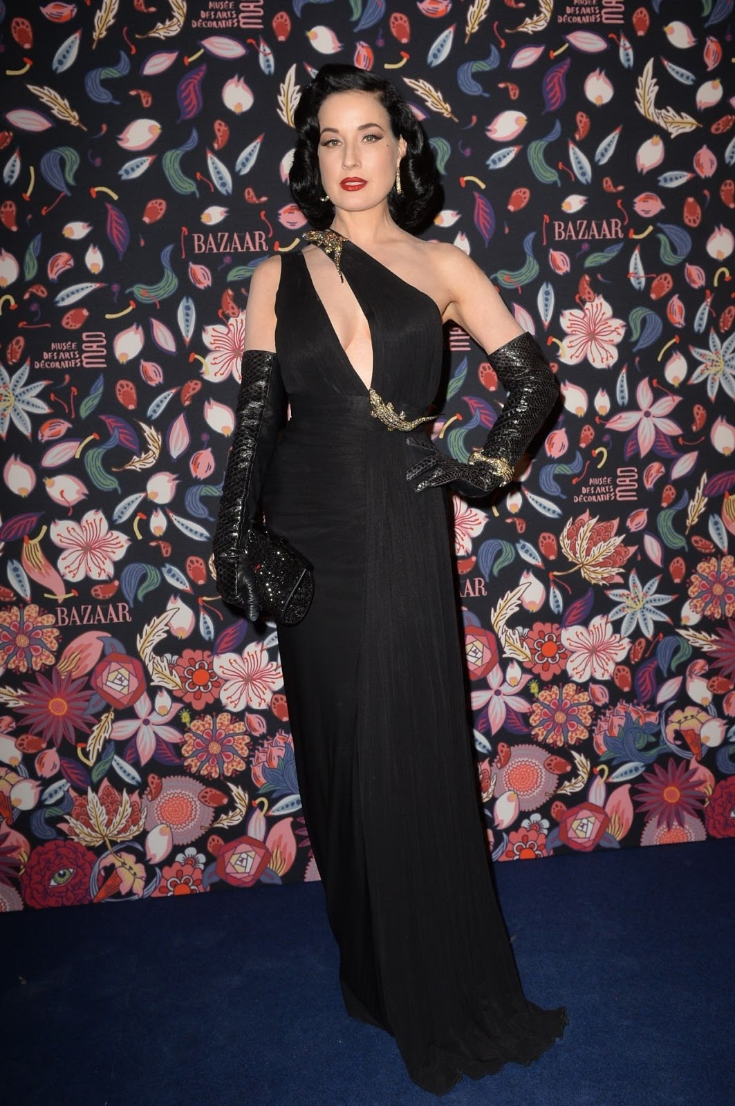 Dita Von Teese brings gothic glam to the Harper's Bazaar Paris Fashion Week Gala