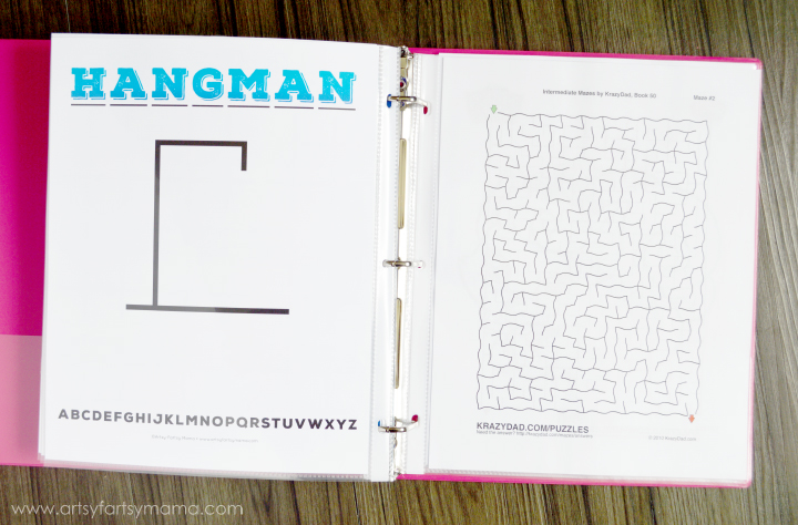 Road Trip Binder with Free Printable Hangman and more at artsyfartsymama.com