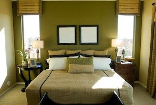 Habitación matrimonial marrón verde