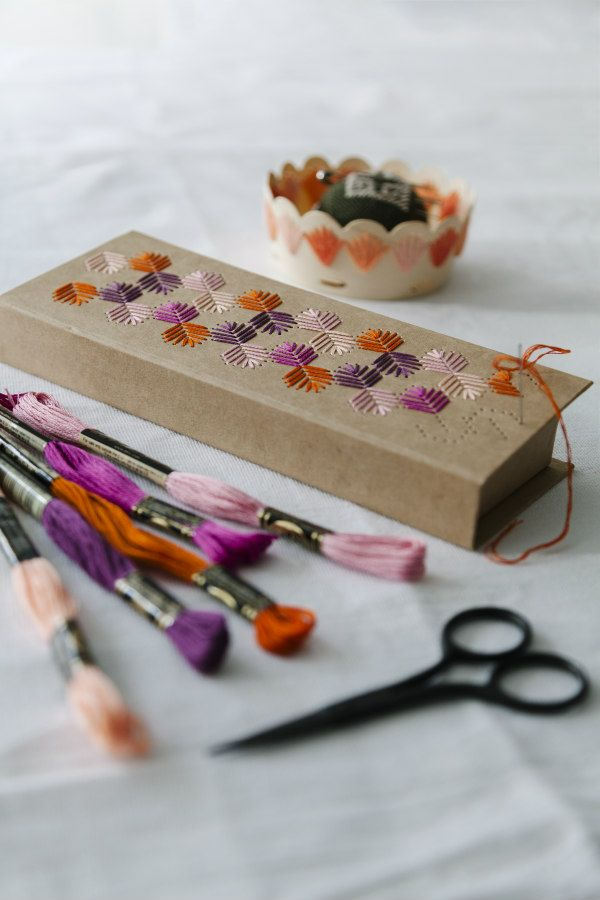 embroidery floss in five colors with stitched kraft cardboard lidded box and dish