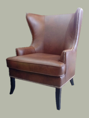Uhuru Furniture Collectibles Leather Wingback Accent Chair With Nailheads 195 Sold