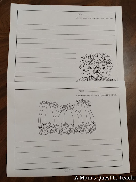 Halloween-themed writing pages from My Teaching Library