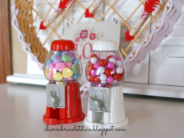 Dollar Tree Valentines treat gumball machine sixlets conversation hearts