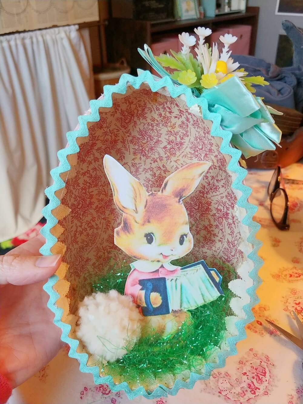 Upcycled Vintage Easter Egg Diorama