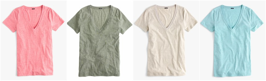 J. Crew V-Neck Slub Tees for only $10-$12 (reg $30)