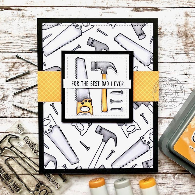 Sunny Studio Stamps: Tool Time Frilly Frame Dies Masculine Themed Cards by Lynn Put