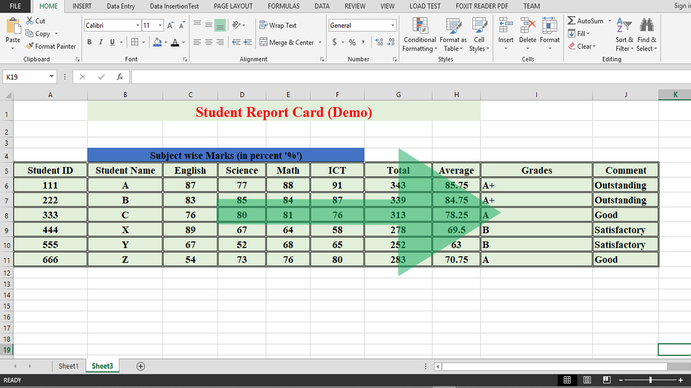 How to create a sample student report card in MS-Excel ...