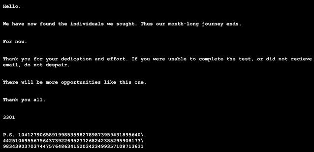 Cicada 3301 confirmation message