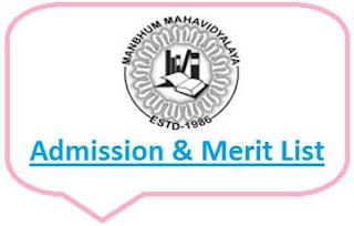 Manbhum College Merit List