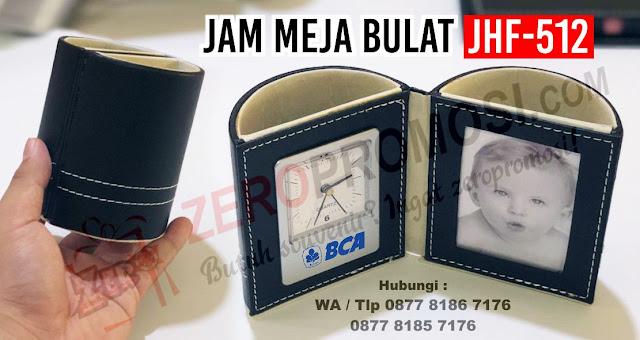 Barang Promosi Jam Meja, Souvenir Perusahaan dan Seminar JHF-512 Bulat, Jam Meja Promosi Kantor