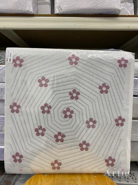 Hotfix stickers dmc rhinestone aplikasi tudung bawal fabrik pakaian sarang labah-labah dgn bunga bunga maroon silver