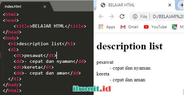 Description List pada HTML <dl>