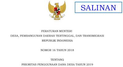 Kepmen Desa PDTT Nomor 16 Tahun 2018 Tentang Prioritas Penggunaan Dana Desa Tahun 2019, http://www.librarypendidikan.com/