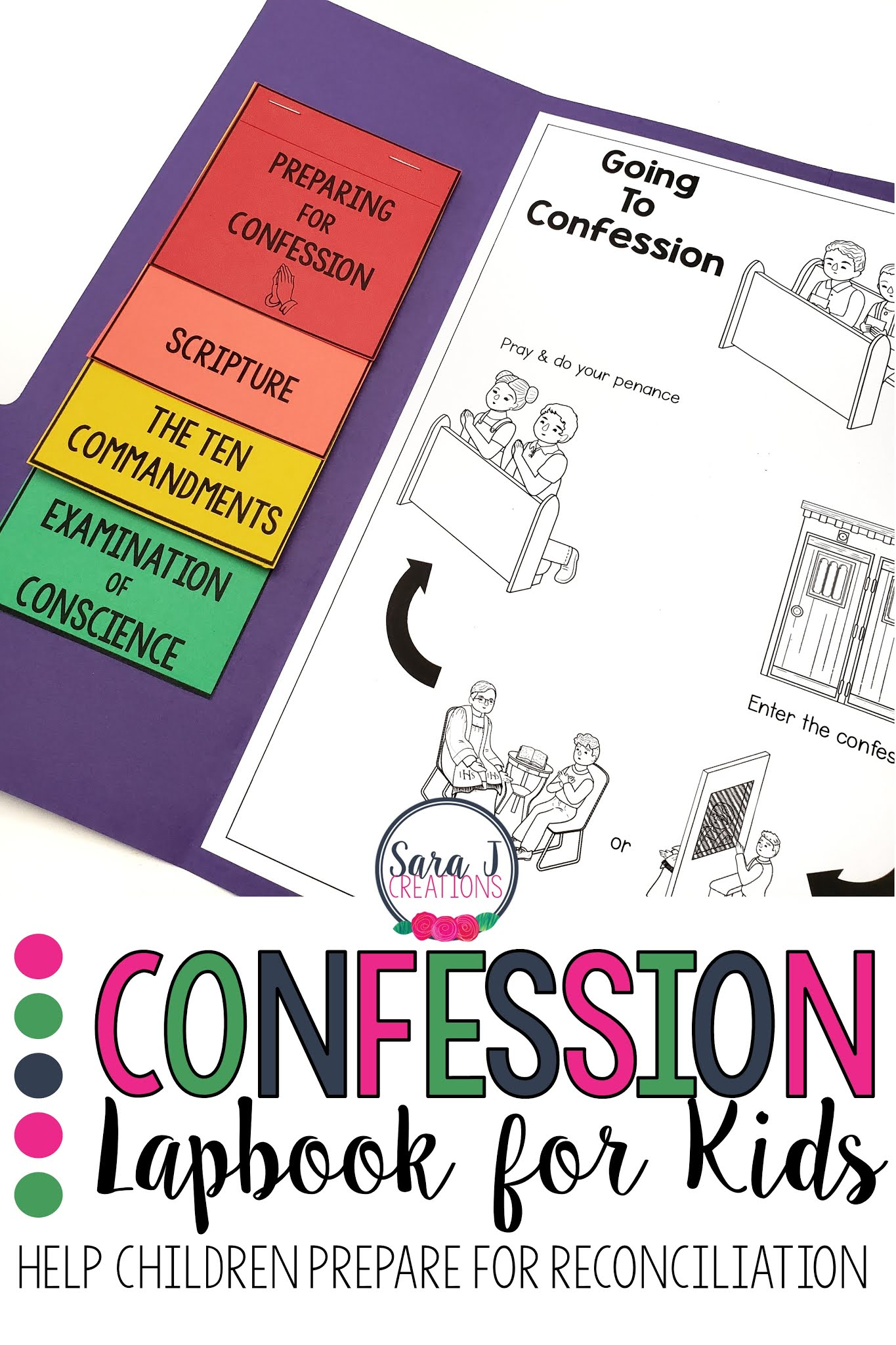 Help Catholic kids prepare for reconciliation with a confession lapbook. A simple tool to help them learn the steps of the Sacrament of Penance.
