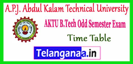 AKTU B.Tech. A.P.J. Abdul Kalam Technical University 1st 3rd 5th 7th Semester Time Table 2017